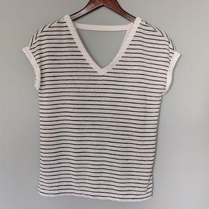 LOFT White and Charcoal Stripe Vneck